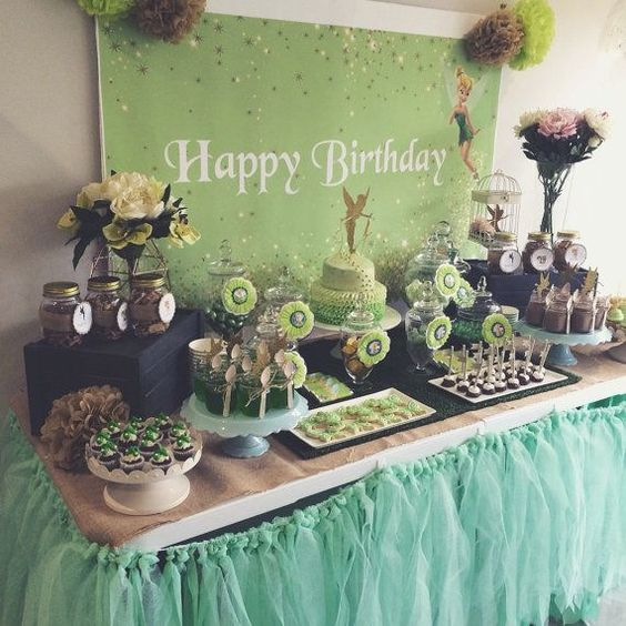 tinkerbell and peter pan party decoration dessert table backdrop pdf file - Decoration De Maison Pdf