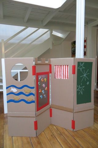 un paravent de jeu en carton faire soi m me chambres d 39 enfants pinterest. Black Bedroom Furniture Sets. Home Design Ideas