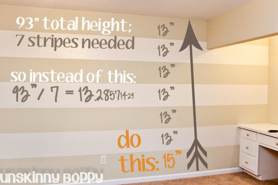 Easy way to paint stripes: use ODD number of stripes so top and bottom are existing room color, make stripes in even inch (or mm) increments, and use the bottom stripe to soak up the odd bits of measurements.