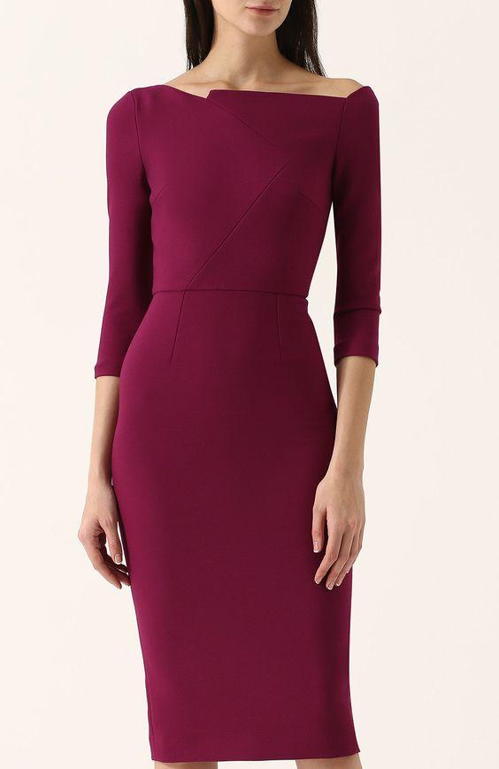 Женское фиолетовое однотонное платье-футляр с укороченным рукавом ROLAND MOURET — купить за 78050 руб. в интернет-магазине ЦУМ, арт. PS18/S0121/F2196