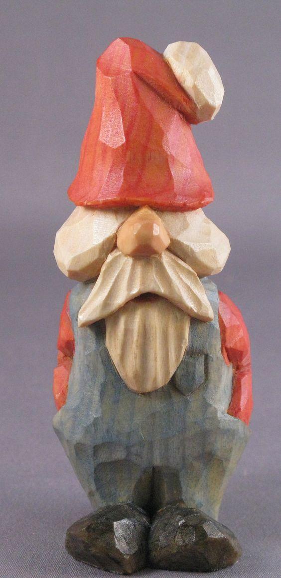 Santa christmas gnome wood carving caricature