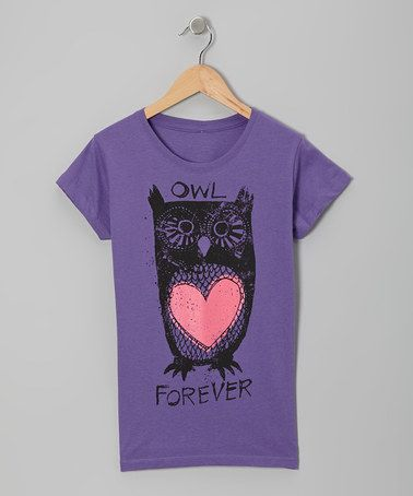 Another great find on #zulily! Purple 'Owl Forever' Heart Tee - Girls #zulilyfinds