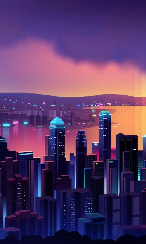 Hong Kong Buildings Cityscape Night Art 480x800 Wallpaper Cityscape Wallpaper City Wallpaper Iphone Wallpaper