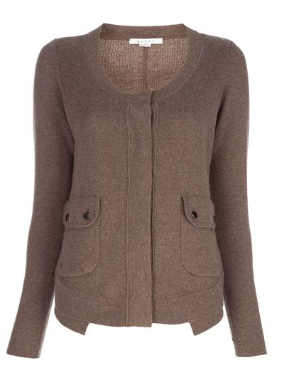 Brown wool blend cardigan from Duffy featuring a ribbed scoop neck, concealed front fastening, two front flap pockets with silver-tone press studs, long sleeves and cut-out detail at the hem.