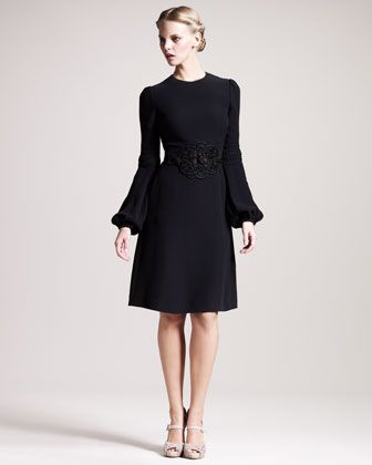 Embroidered Cady Dress by Valentino: Black Flare, Fashion Dresses, Shopstyle Valentinoembroidered, Valentinoembroidered Cady, Black Dress, Belted Lady