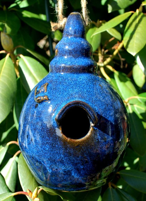 Cobalt Blue Hanging Bird House Stoneware Clay Pottery Free Shipping