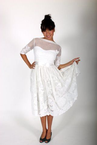 Short Cotton Wedding Dress with Lace Overlay by AnnieFish on Etsy, $700.00