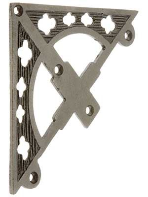 "6 1/8""X 4"" Ornate Screen Door Corner In Antique Iron"