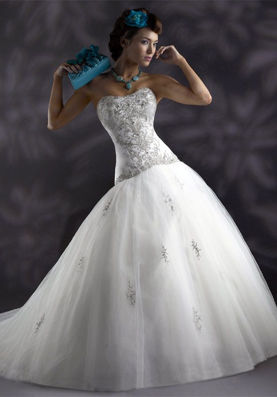 A-Line Strapless Satin Tulle Semi-Cathedral wedding Dress Style ...