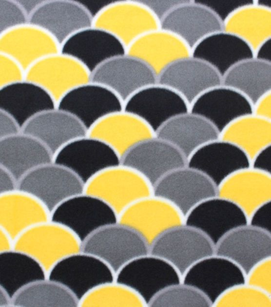 Blizzard Fleece Fabric- Yellow And Gray Scales