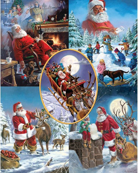 "jigsaw puzzle 1000 pieces 24""x30""-santa's big night"