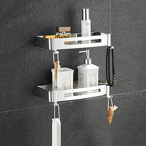Bathroom Shelves Wall Mounted Punch Free Shower Storage Basket For Bathroom Basin Double Layer 1 Shower Storage Shelf Baskets Storage Bathroom Shelves