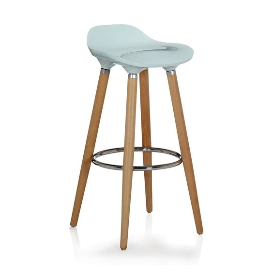 tabouret de bar bleu avec pieds en h tre massif jade. Black Bedroom Furniture Sets. Home Design Ideas
