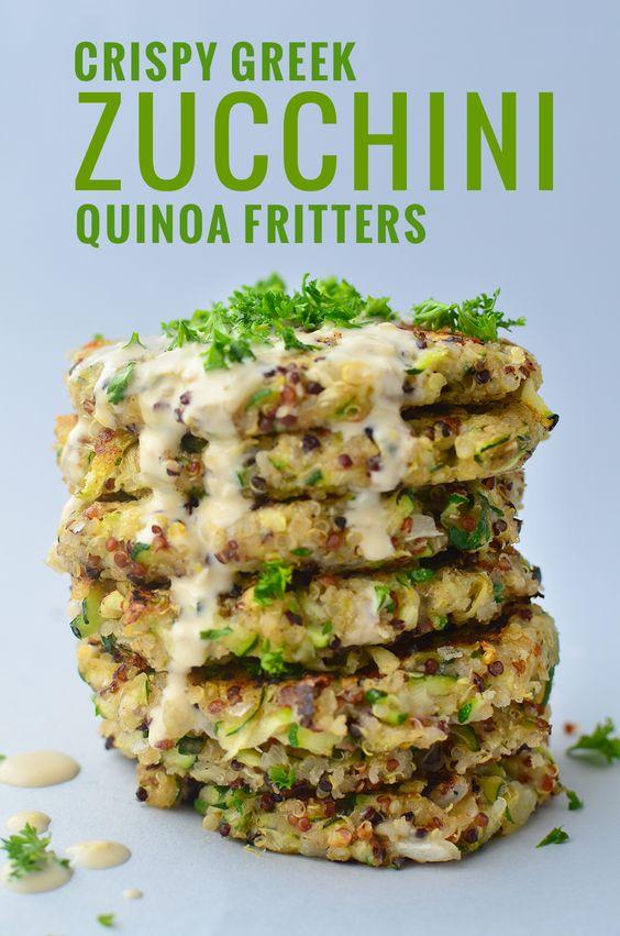 Greek Quinoa Zucchini Fritters recipe!  Crispy zucchini fritters with a garlic-hummus sauce. Perfect for leftover zucchini!   www.delishknowledge.com