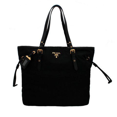 black prada messenger - Prada BR4997 Nero Black Tessuto & Saffian Shopping Tote Bag ...