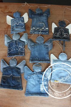 Denim Christmas angels...would be nice to leave the pocket open for candies, nuts, etc...:
