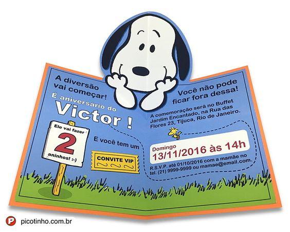 Convite Pop Up Snoopy / Charlie Brown