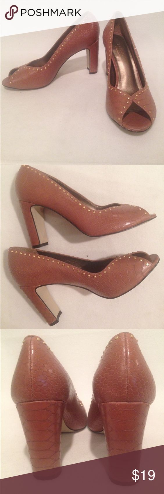 EUC TALBOTS Women's Heels Pumps Genuine Leather Perfect for the autumn! Gold Studs Brown Tan Leather Snake Pumps Heels. Peep Toe  Condition: Worn only once. In EUC condition, one very small scuff on the upper right as shown in the pictures. Barely noticeable.   Material: genuine leather Size: women's 7B  Heel height: 3 inch  Color: Tan / brown with gold studs Talbots Shoes Heels