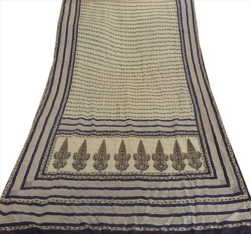 Antique-Vintage-100-Pure-Silk-Saree-Cream-Printed-Sari-Craft-Fabric-5-Yard