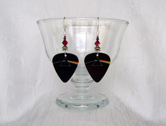 Pink Floyd Dark Side of the Moon Guitar Pick Earrings by JazziSparklies on Etsy Available again! Popular Dark Side of the Moon!