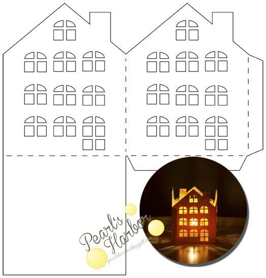 Pearl's Harbor: Plotterdatei und Grafik für ein Teelichthaus mit Sprossenfenstern. #freebie