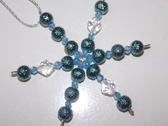 Blue Textured Pearl Christmas Ornament by EriniJewel on Etsy