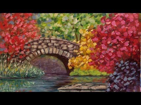 11 Autumn Bridge Landscape Live Acrylic Step By Step Beginner