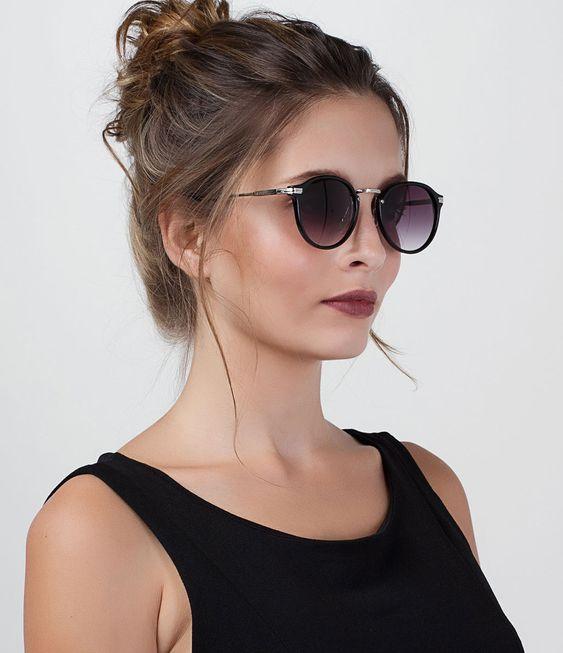 Óculos de sol Feminino Modelo redondo Hastes em metal Lentes em acrílico  Proteção contra raios UVA a1a160f68c
