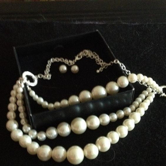 "Pearl necklace and earring set 3 strands of faux pearls from small to large 16"" length with 3"" extender included. Faux pearl studs included. Boxed new and never worn Avon Jewelry Necklaces"