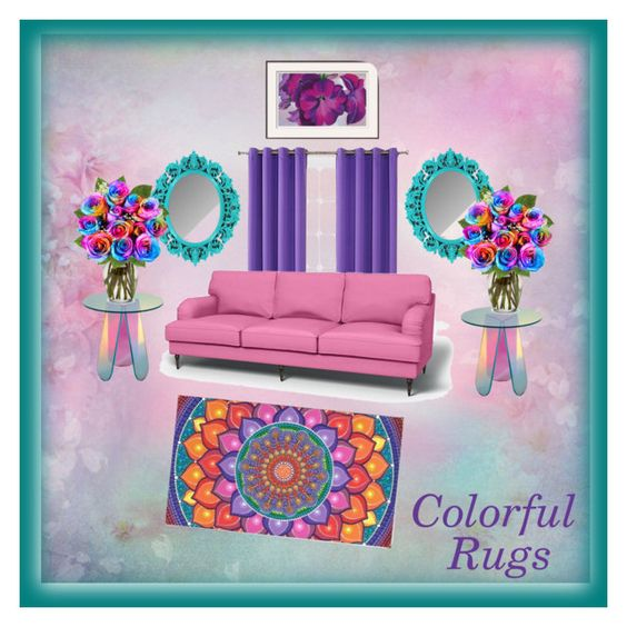 """""""Colorful Pastel Rug"""" by mstiffanyc ❤ liked on Polyvore featuring interior, interiors, interior design, home, home decor, interior decorating, Sun Zero and colorfulrugs"""