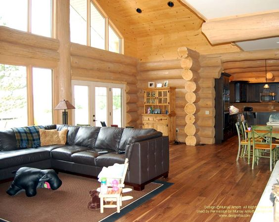 Handcrafted log home great room  #loghomes #loghomedesign #logconstruction #ontario  For more photos of this or more of my designs, please check out my website, www.designma.com, my Design Page, www.facebook.com/loghomedesign