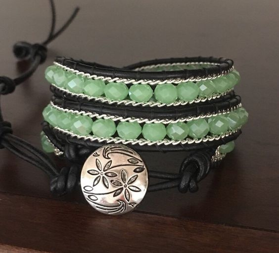 A personal favorite from my Etsy shop https://www.etsy.com/listing/271010868/mint-silver-and-black-3-wrap-bracelet