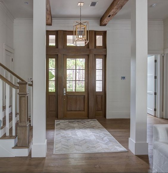 Foyer Exposed Wood Beams And Shiplap Walls. Foyer Exposed