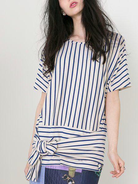 Shop Tunics - Beige Bow Crew Neck Statement Stripes Tunic online. Discover unique designers fashion at StyleWe.com.
