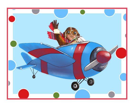 African American art for kids airplane by HamiltonArtandDesign