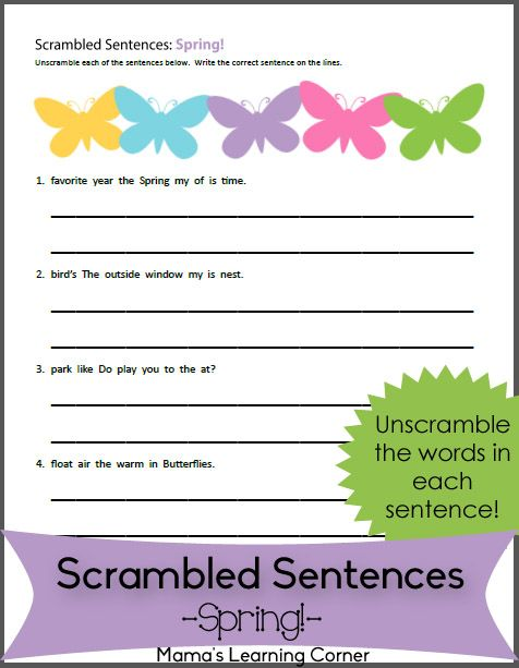 Spring! - Scrambled Sentences Worksheet | Sentences, Worksheets ...