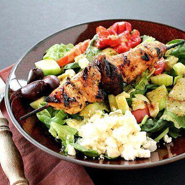 Mediterranean Salad with Grilled Chicken Skewers