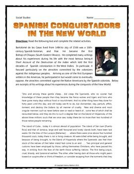 the spanish conquerors essay A great deal of historical documents touch on the theme of the spanish conquest of latin america and give us numerous facts in order to prove this or that historical event according to many up-to-date sources of information it turns out that some facts concerning the spanish conquest are either false or too simplistic.