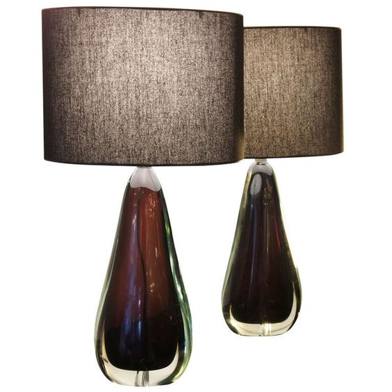 Table lamps modern table lamps and modern table on pinterest pair of flavio poli for seguso aubergine table lamps from a unique collection of antique mozeypictures