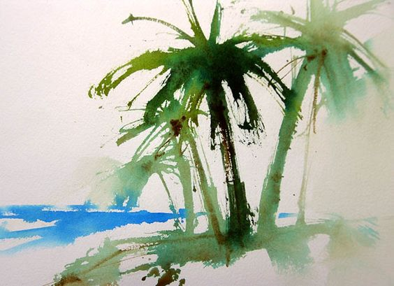 Easy trees how to paint palm trees watercolors for Painting palm trees