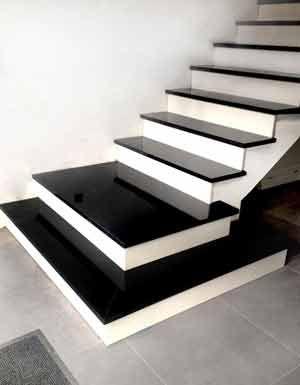 Granit Treppen - Treppenstufen Granitstufen auf Beton