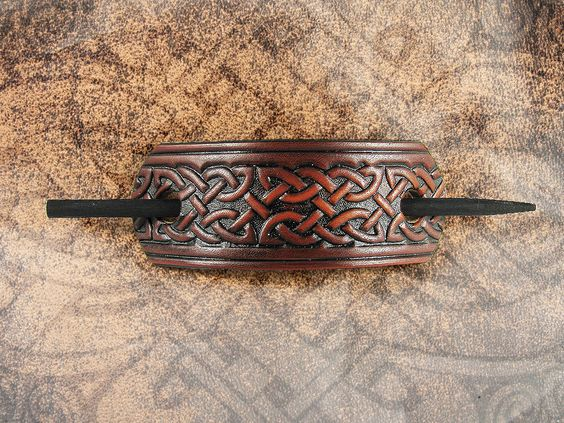 Leather Barrette  Russet Celtic Knot by LabyrinthLeather on Etsy, $15.00