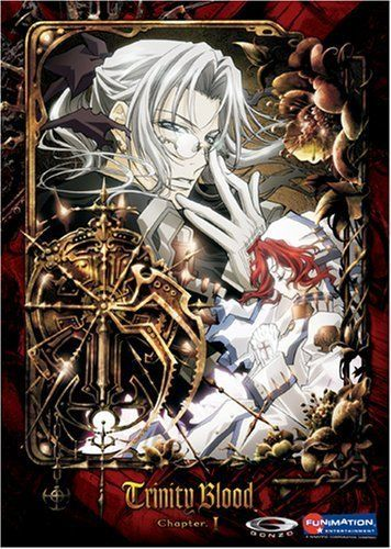 Trinity Blood. The world is destroyed and rebuilt. Tensions between the human and the vampire populations of the planet are always close to war. Father Able, who isn't one or the other, is doing his best to stop that from happening.