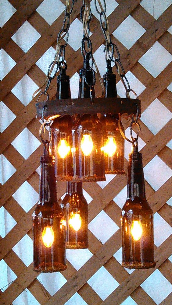 beer bottle chandelier by CherylwoodForest on Etsy