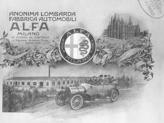 Posters have accompanied the motor car since its earliest days. The new industrial product was immediately featured on many magazine covers including Tribuna Illustrata, Auto Italiana and Domenica del Corriere.  The first A.L.F.A. advertising poster is shown here. http://www.socialnetwall.alfaromeo.com/c/historical-alfa-romeo-cars/1910---the-first-al/12255