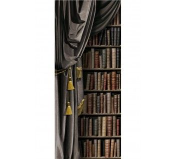 Charcoal grey velvet curtain & bookcase / Left by Koziel Made in ...