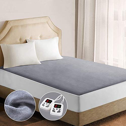 Heated Mattress Pad Underblanket Dual Controller For 2 Users Soft Flannel 10 Heating Levels 9 Timer Set Heated Mattress Pad Mattress Pad Electric Mattress Pad