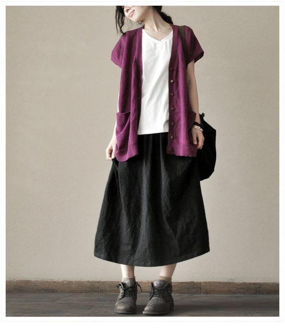 Causel Loose Black  Cotton Big Long Women Skirt Long Skirt via Etsy.