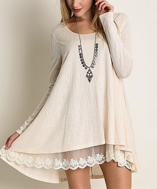 Natural Lace-Trim Tunic