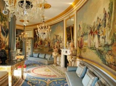 """Curved hallway with """"Goya"""" murals at Chateau Groussay """"interior"""" - Google Search"""